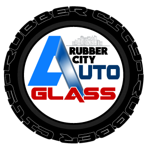 logo for rubber city auto glass in northeast ohio